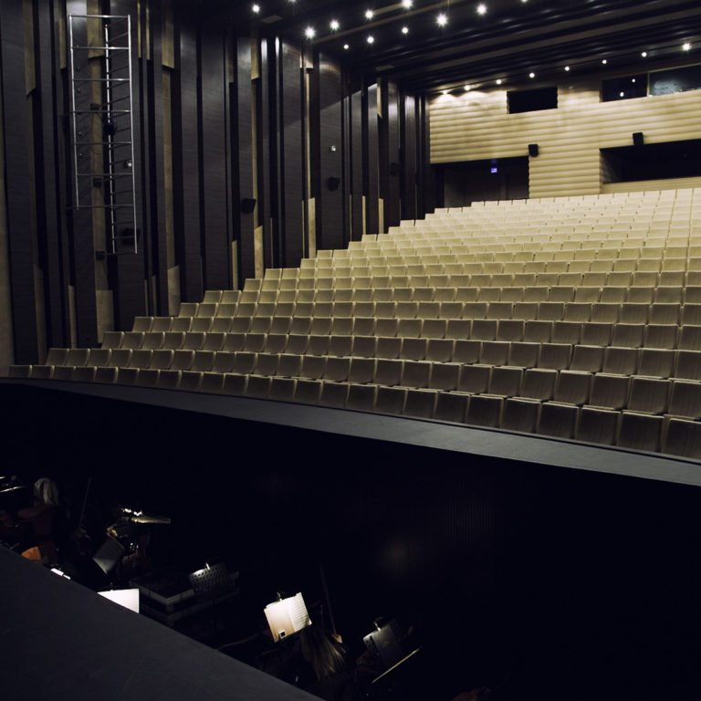 Orchestra pit and theatre seats,opera,shot from the left